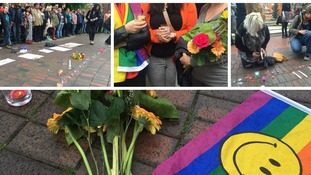 Pictures from the Leicester Vigil in support of victims of the Orlando massacre
