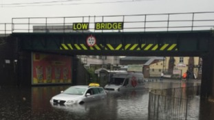 Floods by Sandwell and Dudley railway station last week