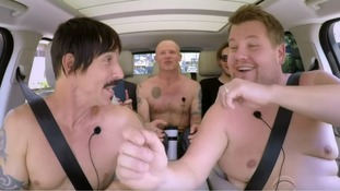 James Corden gets topless with Red Hot Chili Peppers in Carpool Karaoke
