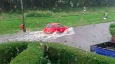 Flooding on William Green Road, Wednesbury