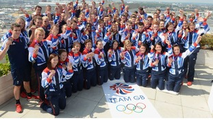 Team GB athletes with their medals as the 2012 Games drew to a close
