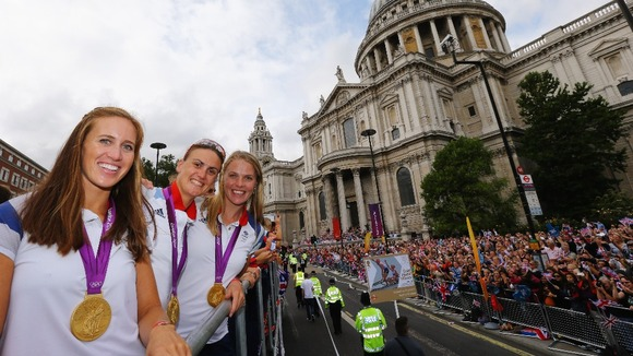 Women's Pair Rowing gold medallists Helen Glover (far left) and Heather Stanning