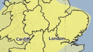 Area covered by the yellow weather warning for heavy rain.