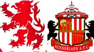 Middlesbrough and Sunderland badges