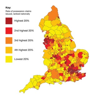 Map of England's 'home threat hotspots'.