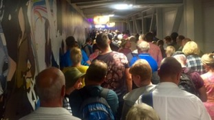 The queues getting into the terminal at Bristol Airport on Tuesday night