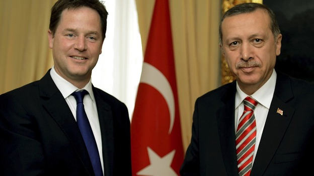 Deputy Prime Minister Nick Clegg shakes hands with Turkish PM Recep Tayyip Erdogan