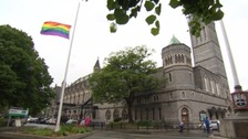 The rainbow flag at half mast outside the Guildhall in Plymouth