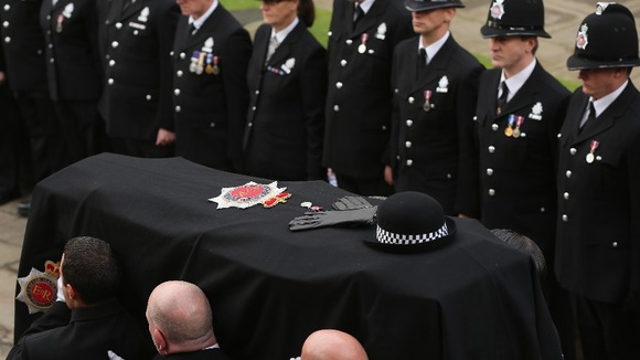 The hat, gloves and Queen&#x27;s Jubilee medal, lay on top of the coffin of Pc Fiona Bone