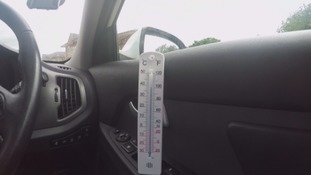 A thermometer in a hot car