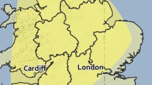 Area covered by a yellow weather warning on Thursday 16 June 2016.