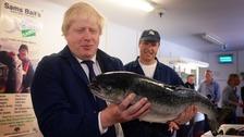 Boris Johnson MP visits Sam Cole Foods fish processing factory in Lowestoft, Suffolk.