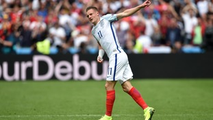 Jamie Vardy celebrates scoring England's first goal of the game.