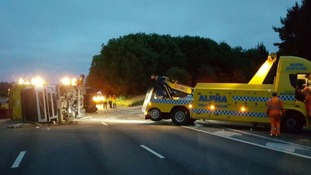 Two lanes of the A1 were closed earlier this morning