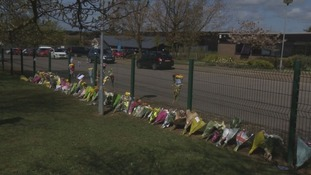 Flowers were laid at the school gates