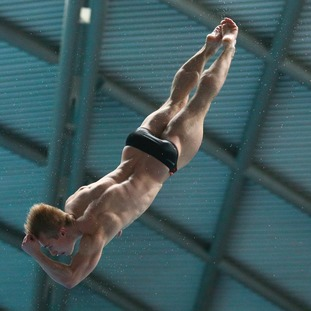 Jack Laugher on his way to winning the Men 3m, Final during day two of the British Diving Championships at Ponds Forge International Sports Centre, Sheffield