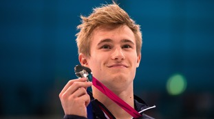 Great Britain's Jack Laugher with his silver medal after competes in the Men's Diving 3m Springboard Final during day four of the European Aquatics Championships at the London Aquatics Centre in Stratford.