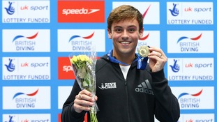 Tom Daley celebrates winning the Men 10m in the British British Diving Championships at Ponds Forge International Sports Centre, Sheffield.
