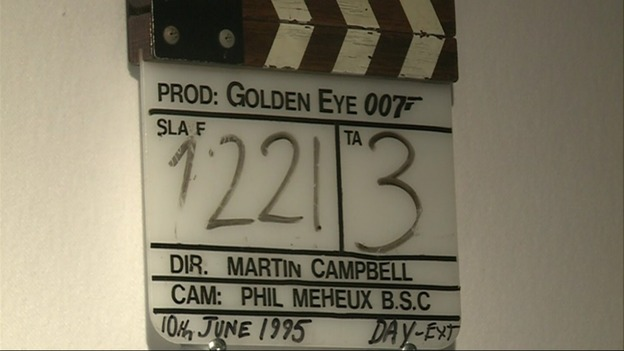 A clapperboard used during the filming of GoldenEye.