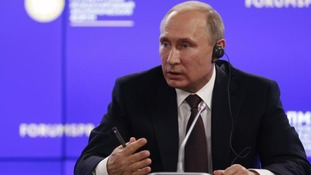 Russian President Vladimir Putin at the St. Petersburg International Economic Forum.