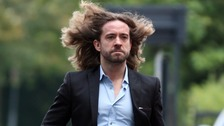 Justin Lee Collins arrives at court this morning
