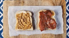How to make a peanut butter and bacon sandwich.