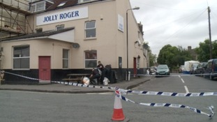 The scene of the shooting outside the Jolly Roger Pub in Easton