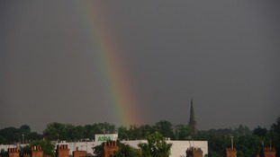 A rainbow over Rushden in Northamptonshire.