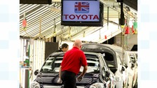 Toyota assembly line at the Toyota factory at Burnaston in Derby,
