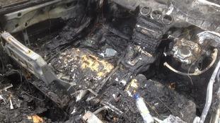 The destroyed interior