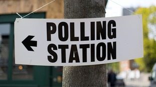 A polling station sign in north London.