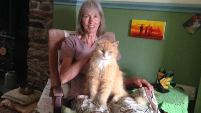 Mrs Hayler and Marmalade the cat