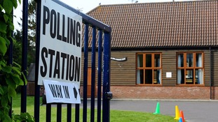 A polling station in Storrington, West Sussex.