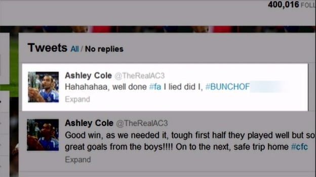 Ashley Cole&#x27;s tweet.