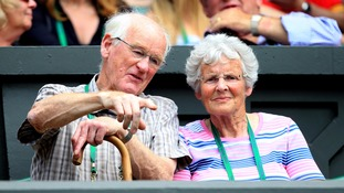 Roy and Shirley Erskine watch their grandson play at Wimbledon.