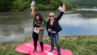 Courtney Robinson (left) and Lucy Simpson of Labour Alternative hold boxes of abortion pills which were delivered by drone.