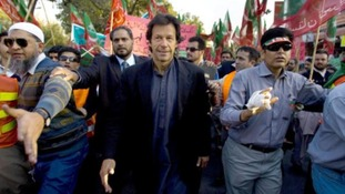 Imran Khan leads a rally against US drone attacks in Pakistan in 2008