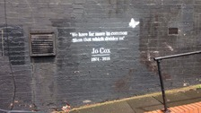 The tribute to Jo Cox appeared on the wall of a kebab shop in Moseley