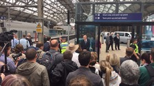 Crowds gather at Lime St station