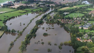 An aerial picture showing the scale of heavy flooding in North Yorkshire last week.