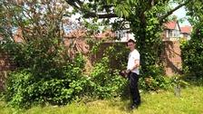 PC John Lorraine at work in the victim's garden.