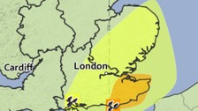 Area covered by yellow weather warning on Wednesday, Thursday and Friday.