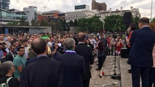 Hundreds gather in Manchester in memory of Jo Cox