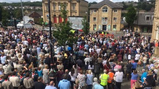 Crowds at tribute service in Batley