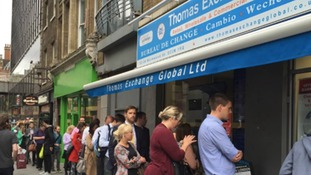 Big queues form outside Bureau de Change as EU referendum vote looms
