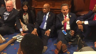 US politicians stage sit-in protest demanding vote on gun laws after powerful speech