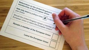 A ballot paper for the EU referendum