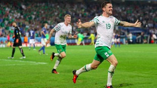 Republic of Ireland's Robbie Brady celebrates scoring
