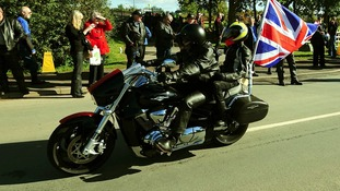Bikers arriving for the fifth annual Ride to the Wall