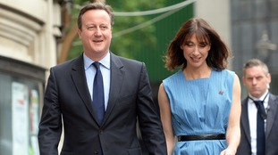 David and Samantha Cameron outside the polling station in Westminster.